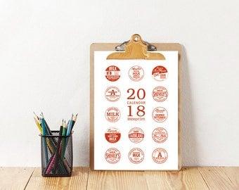 2018 Wall Calendar, Printable Calendar 2018, Typography Calendar, Milk Bottle, Minimalist Calendar, A4, US Letter. INSTANT DOWNLOAD!