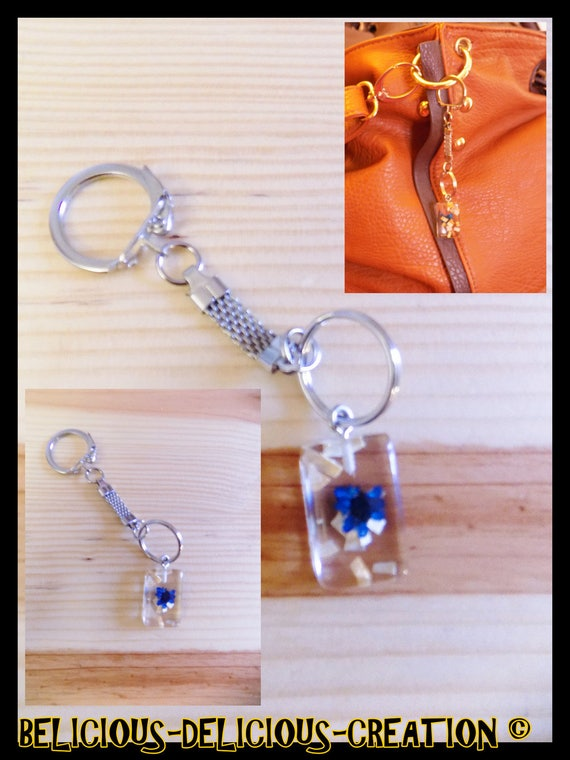 Original jewelry bag Keyring! GLASSFLOWER! glass and metal long 8cm belicious delicious creation
