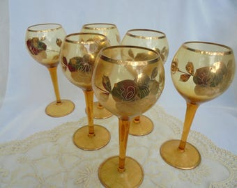 VINTAGE GOLD GLASSWARE, Stemware Glasses, Set of 6, Golden Rose
