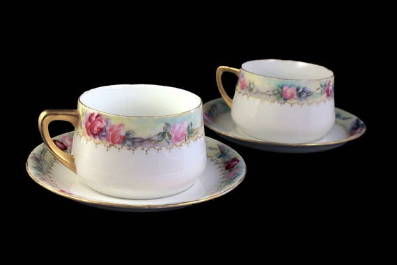 Cups and Saucers, Weimar Germany, Set of 2, Rose Pattern, Hand Painted, Fine China, Gold Trim, Hard To Find