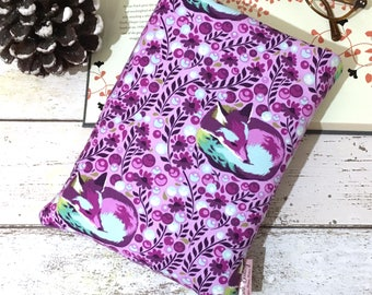 Sleeping Fox Book Buddy, Purple Berry Book Sleeve, Woodland Book Gift, Padded Book Pouch, Paperback Cover, Book Lover Gift, Bookish Swag