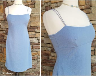 Glittery powder blue short dress with crisscross straps - large