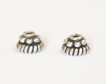 2 Bali Sterling Silver Bead Cap with Granulation 6x4mm