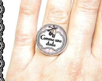 Adjustable ring with cabochon 18 mm * like a star * (070617)