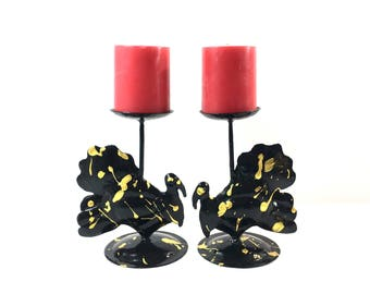 Turkey Pillar Candle Holders Vintage April Cornell Handicrafts Metal with Black Gold Paint Thanksgiving Decor Set of Two