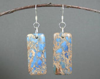 Blue magnesite dangle earrings with silver plated earwires