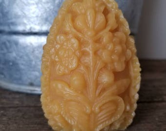 Large Beeswax Carved Egg Candle