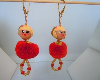 """Earrings dangling gold and Red dolls with PomPoms """"Pompom Girls""""."""