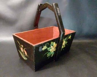 Vintage Handpainted Folk Art Wood Basket Carrier