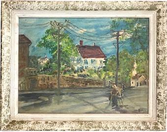 Vintage Original Impressionist Cityscape With Figures Signed Ellis (Possibly Howard Ellis)