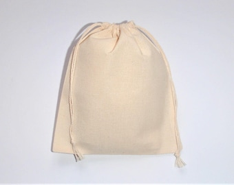 "Natural Cotton Bags * Muslin cotton * Drawstring * Eco Friendly Packaging * Gift Bags * Set of 15 Cotton Bags * 5"" x 6"" (13cm x 15cm )"