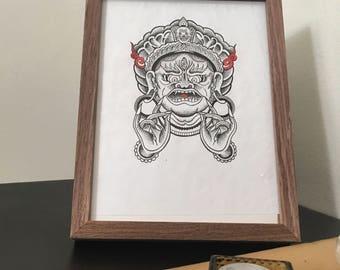 Mahakala Wall Decoration/Tattoo Design