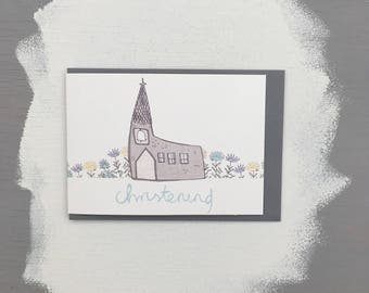 Christening illustrated greetings card