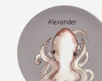Children's plate Octopus with name in great design from melamine