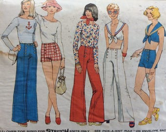 Simplicity 6407 misses wide-leg pants or short, midriff top and pullover top size 16 bust 38 waist 30 vintage 1970's sewing pattern  Uncut