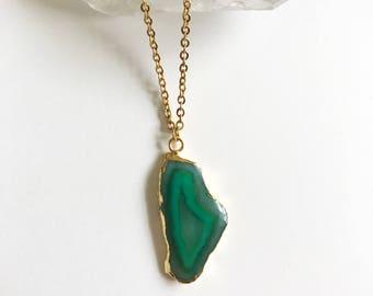 Green Agate Slice Druzy Necklace // 24k Gold Electroplated Agate Druzy Slice // Layering Necklace