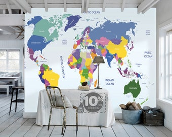 Attractive World Map Removable Wallpaper Peel And Stick Map Wall Sticker Study Room  Ocean Wall Paper Aqua