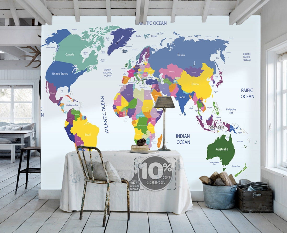 World map sticker for wall india - World Map Removable Wallpaper Peel And Stick Map Wall Sticker Study Room Ocean Wall Paper Aqua
