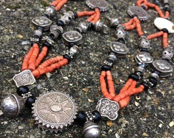 Turkmen Coral & Silver Necklace