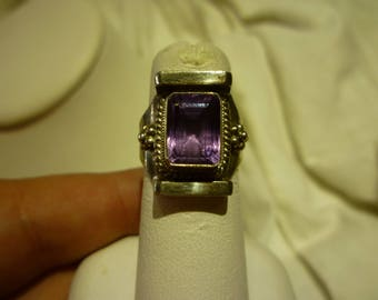 G83 Vintage Sterling Silver and Amethyst Ring, Size 6 1/4.