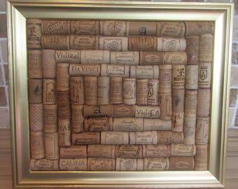 Gold Effect Framed Wine Cork Noticeboard / Corkboard / Pinboard / Wedding