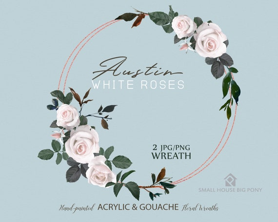 White Rose Wreaths Clip Art. Rose Wreath and Leaves Clipart. Floral Frames and Borders for Wedding, Cards - Austin White Rose Wreaths