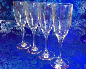 Mumm Crystal Champagne Glasses Flutes lot of 4 vintage advertising