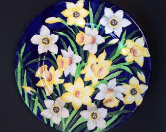 Maling Hand Painted English Art Deco Antique Plate England Daffodils