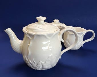 American Atelier Waverley White Teapot, Cream and Sugar vintage