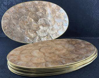 """Set Of 6 Capiz Shell 18"""" Serving Placemats Gold Trim Mother Of Pearl Seashell"""