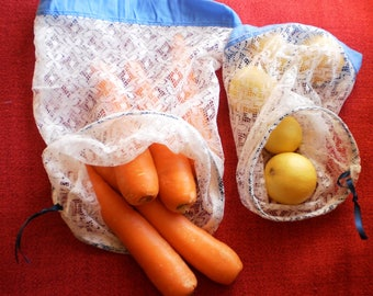 Set of 5 reusable produce bags.  Produce bags.  Fruit and Vegetable Bags.  Market Bags.
