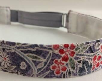 Adjustable non-slip Headband hairband made with vintage silk kimono fabric - lavender gray floral