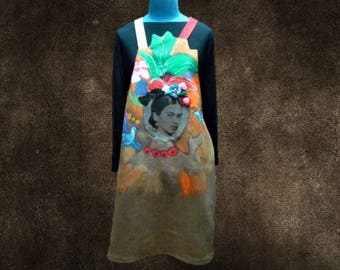 "Dress hand painted ""Frida"" light brown denim overalls"