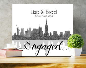 Manhattan Skyline Engagement Print New York Skyline Gift for Couple - Unframed Manhattan Print
