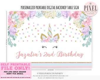 Unicorn Party Table Backdrop Floral Unicorn Table Backdrop Unicorn Birthday Sign Unicorn Birthday Background Poster PRINTABLE FILE ONLY 1X