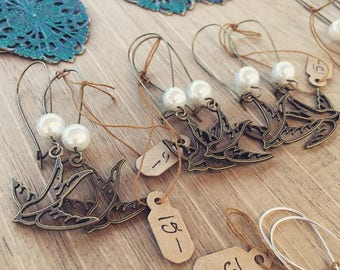 Sparrow Dangle Earrings with Pearl Accent