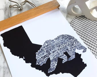 California Bear State Poster, California Print, Illustration, State Map, State Counties