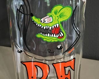 Rat Fink hand painted glass bottle with pinstriping low brow man cave bar art