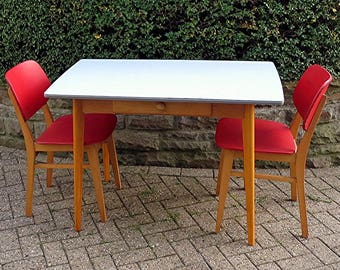 Vintage Kitchen Table from Wood with Formica Tabletop from the 50s/60s