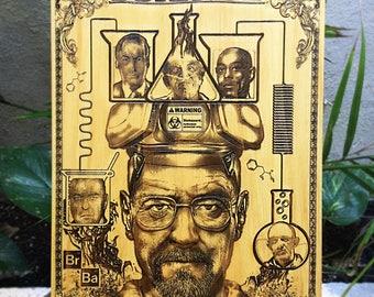 Heisenberg, Breaking Bad, Custom Gift for Him, Walter White, Walter Meth, Laser Engraved , Meth Lab, Breaking Bad Art, Saul Goodman