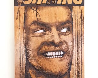 The Shining Poster Mini Wood Engraving, Jack Nicholson Movie Poster, Movie Lover Gift, Movie Room Decor, Movie Theater Decor, Movies Gifts
