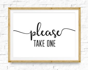 Please take one sign, Wedding signs, Wedding stationery, Printable sign, Instant download, Wedding signage, Reception sign, Take one sign