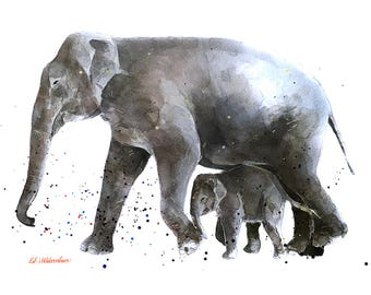 Elephants - Homeward Bound -  Watercolour Print