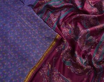 KK Printed Saree Pure Silk Craft Blue Fabric Zari Border Sari