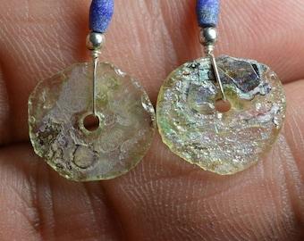 Roman Glass Earrings -- Ancient Roman Glass  Beads 100- 200 BC 003