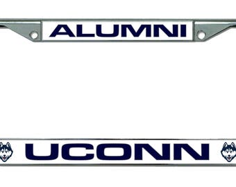University of Connecticut White Alumni Chrome License Plate Frame