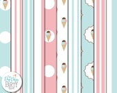 Ice Cream Parlor/Parlour Digital Scrapbooking Paper Pack, Buy 2 Get 1 FREE. Instant Download