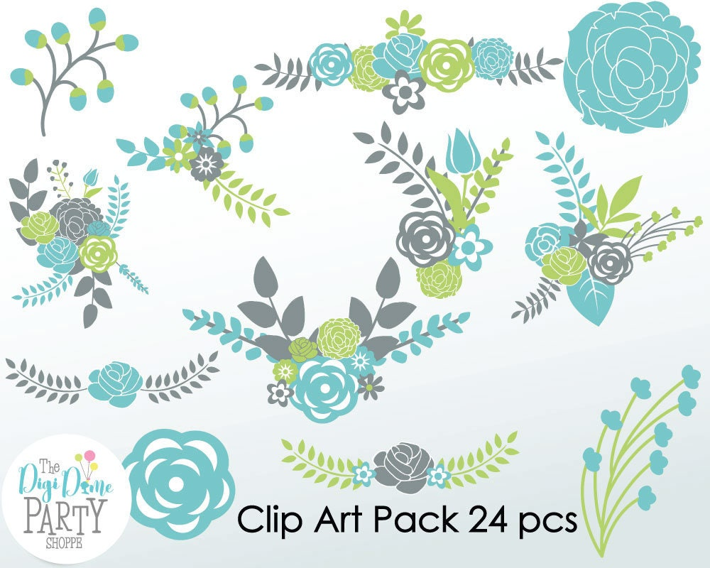 Flower bouquets digital scrapbooking clip art in blue for Buy digital art online