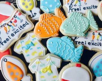 Reel Excited Cookies, Reel excited baby shower, Reel excited party. Fishing cookies
