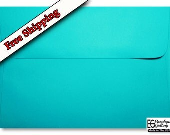 Teal / Aqua A7 Envelopes 5.25 x 7.25 for 5 x 7 Invitations Cards Announcements Weddings Shower Communion Astrobrights Terrestrial Teal